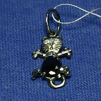 Серебряный кулон Кошка с черным цирконием 4028, фото 1