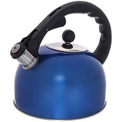 Чайник из нержавеющей стали со свистком Rainberg RB-625 3 л Синий 200429 ES, КОД: 1585652