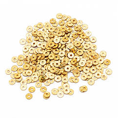 Паєтки, Круглі, Голографічні, Колір: Золото, Розмір: 4мм, близько 1800шт/10г, (УТ100024267)