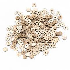 Паєтки, Круглі, Блискучі, Колір: Золото, Розмір: 4мм, близько 2000шт/10г, (УТ100024274)