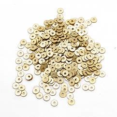Паєтки, Круглі, Блискучі, Колір: Золото, Розмір: 4мм, близько 2000шт/10г, (УТ100024275)