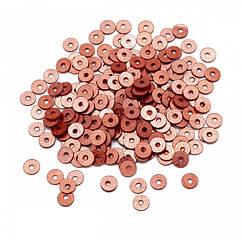 Паєтки, Круглі, Блискучі, Колір: Мідно-червоний, Розмір: 4мм, близько 2000шт/10г, (УТ100024280)
