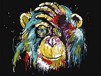 С красками и кистями Обезьяна 60x75 см Картина по номерам