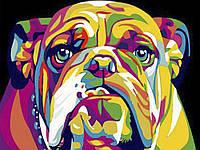 С красками и кистями Собака 60x75 см Картина по номерам