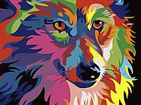 С красками и кистями Волк 60x75 см Картина по номерам