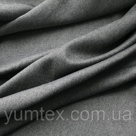 Портьерная ткань рогожка (под лён), цвет т. серый