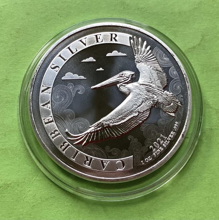 Барбадос 1 долар 2021 р. Фауна/пелікан . (срібло 999 проби , 1 унція)
