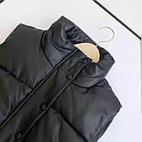 Жіноча стильна жилетка з еко шкіри на холофайбере, фото 4