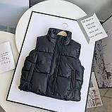 Жіноча стильна жилетка з еко шкіри на холофайбере, фото 3