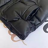 Жіноча стильна жилетка з еко шкіри на холофайбере, фото 7