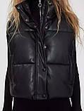 Жіноча стильна жилетка з еко шкіри на холофайбере, фото 5