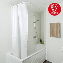 Тканинна штора для ванної кімнати GRAIN з металевими кільцями. Розмір 180*180