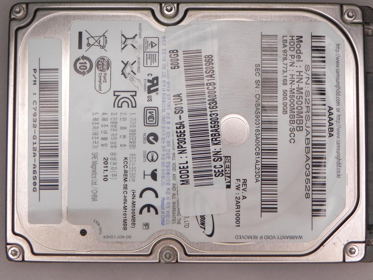 HDD Жесткий диск 500GB Samsung HN-M500MBB SATA БУ Есть BAD сектора.