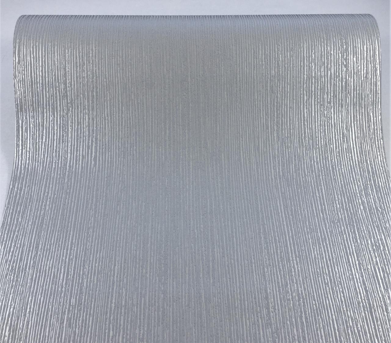 Фактурные немецкие однотонные обои 292568, серого цвета с металлизированными прожилками