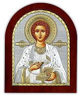Святой Пантелеймон Икона  Silver Axion (Греция) Серебряная с позолотой 85 х 100 мм