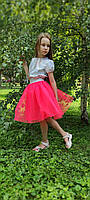 Дитяча фатиновая спідниця коралового кольору для дівчинки 2-9 років, фото 1