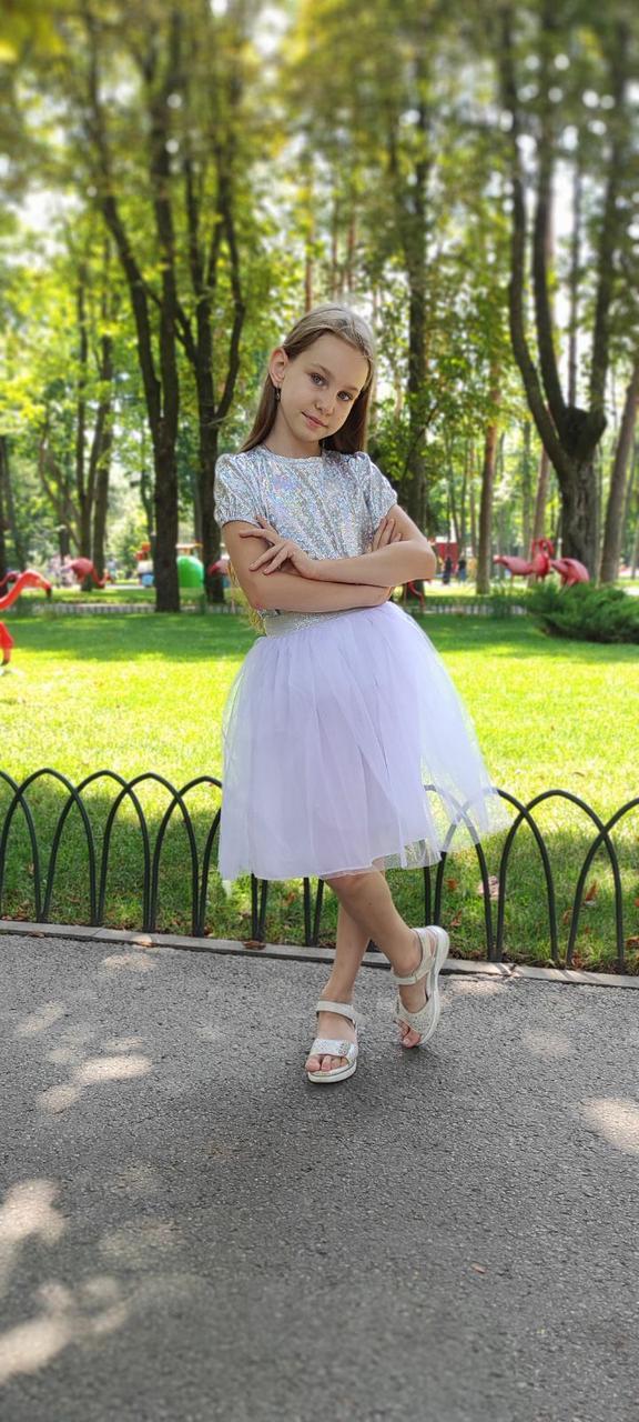 Біла пишна спідниця - американка для дівчинки 2-9 років