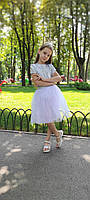Біла пишна спідниця - американка для дівчинки 2-9 років, фото 1