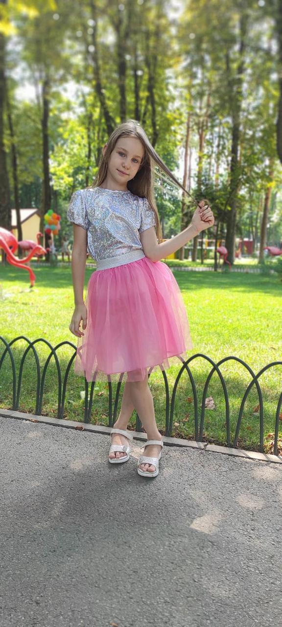 Рожева фатиновая спідниця для дітей на 2-9 років