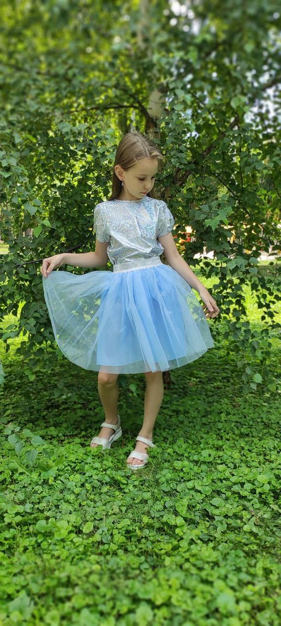 Блакитна дитяча спідниця з фатину для дівчинки 2-9 років