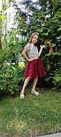 Юбка из фатина для девочки 2-9 лет бордовая, фото 1