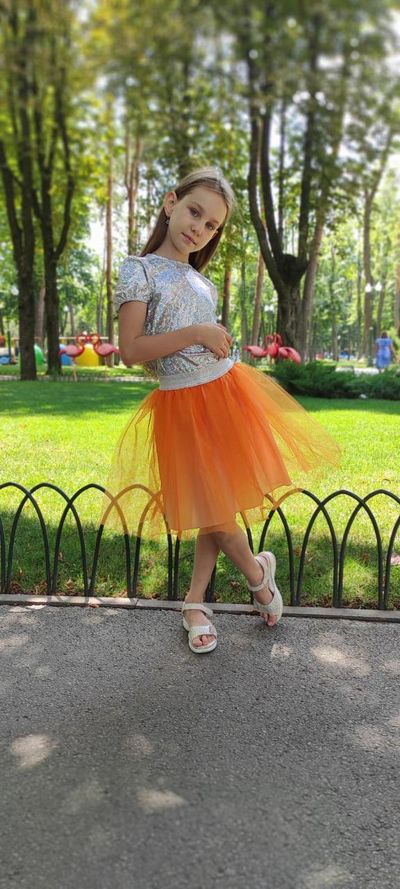 Юбка на девочку 2-9 лет оранжевая