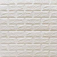 Декоративна стінова 3D панель самоклеюча під цеглу БІЛИЙ МАТОВИЙ 700х770х5мм (в упаковці 10 шт)