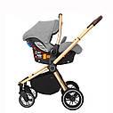Універсальна дитяча коляска Carrello Epica 3 в 1 сіра з автокріслом золота рама люлька сумка дощовик, фото 4