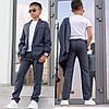 Стильный костюм для мальчика в клетку пиджак и брюки