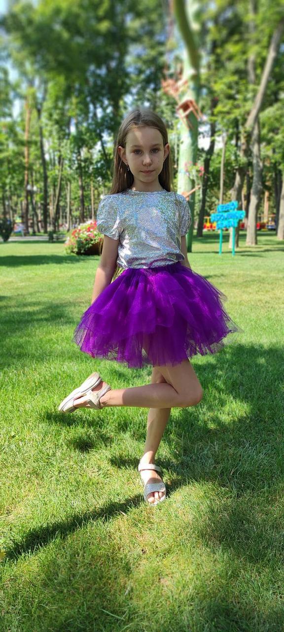 Фіолетова фатинова спідниця для дівчинки багатошарова на 3-9 років