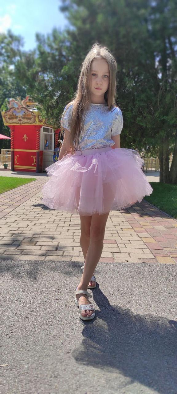 Фатиновая юбка на детей 3-9 лет розовая