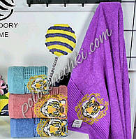 Махровое лицевое полотенце Тигр с короной (8)