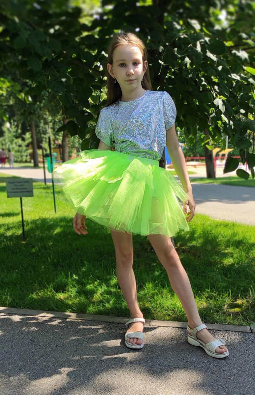 Пушистая салатовая юбка для девочки 3-9 лет