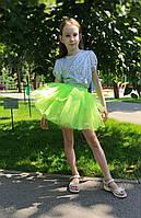 Пушистая салатовая юбка для девочки 3-9 лет, фото 1
