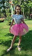 Фатиновая юбка на резинке ярко-розовая на 3-9 лет, фото 1