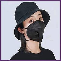 Медицинские маски респираторы с клапаном многоразовые защитные KN95 FFP2 Черные