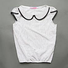 Блузка з коротким рукавом, для дівчинки, біла в горошок, Julia, SmileTime