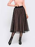 Расклешенная юбка из французского трикотажа с хехлом из фатина бежевая, фото 3