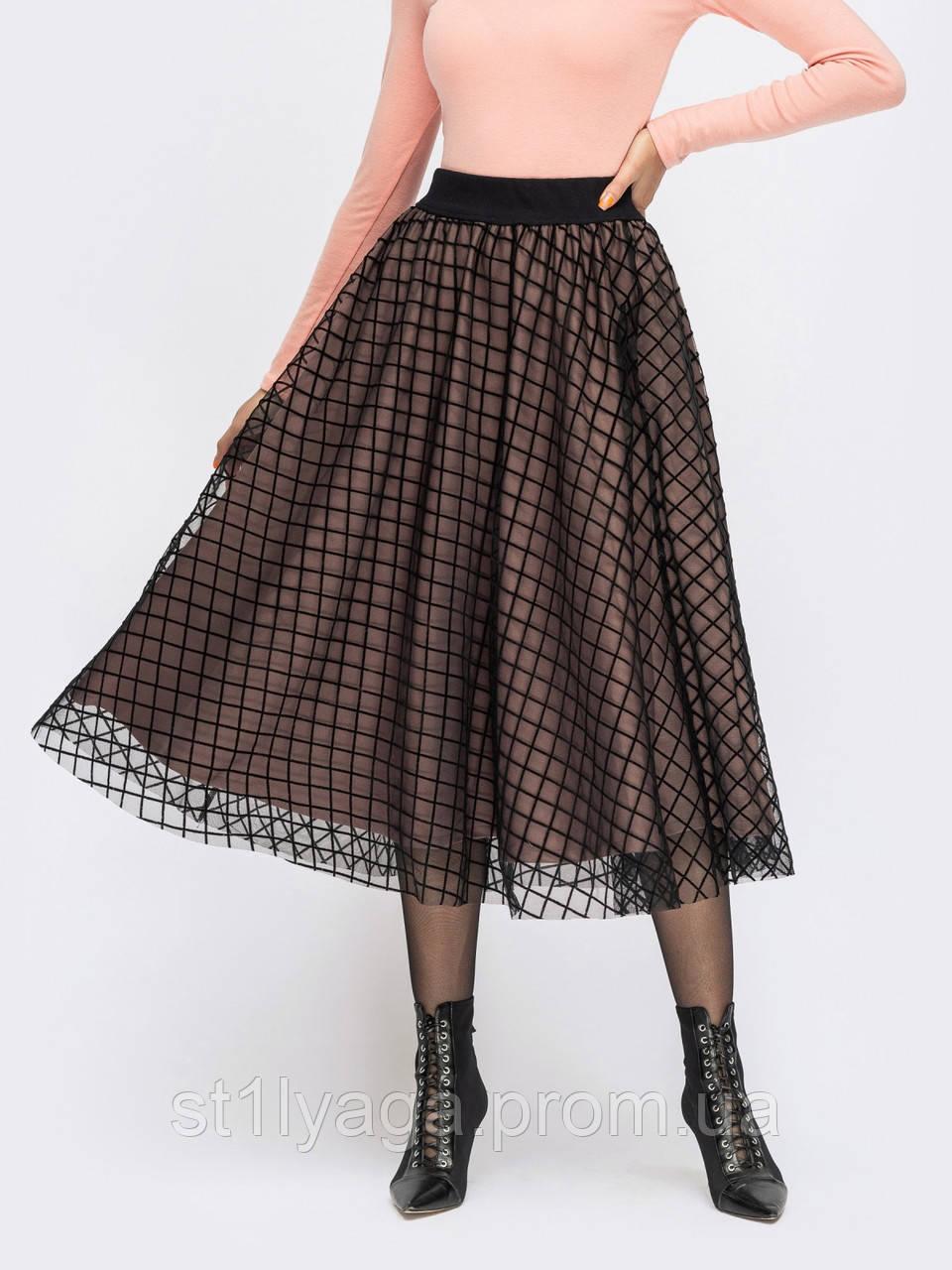 Расклешенная юбка из французского трикотажа с хехлом из фатина бежевая