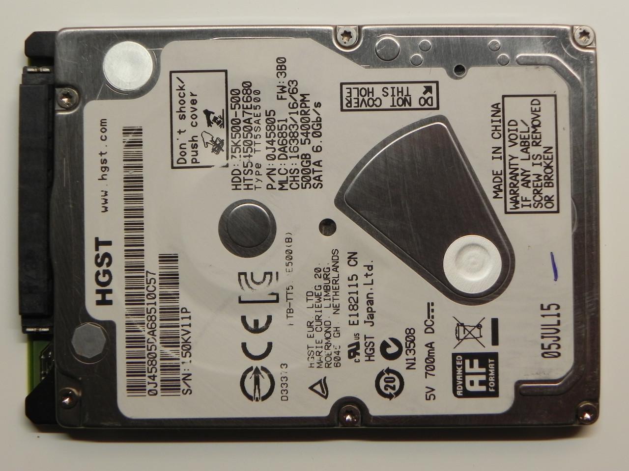 HDD Жесткий диск 500GB Hitachi (HGST) Travelstar Z5K500 БУ Есть дефект