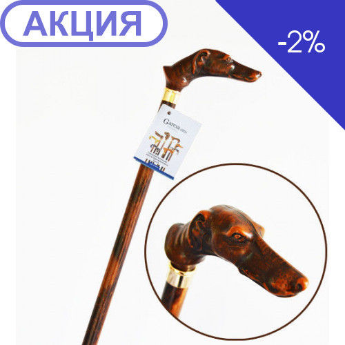 Тростина Garcia Artes, деревина бука, рукоять у вигляді голови собаки