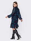Платье из шифона в цветочный принт с воланом по низу, фото 4