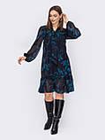 Платье из шифона в цветочный принт с воланом по низу, фото 2