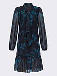 Блакитне плаття з шифону в квітковий принт з воланом по низу, фото 5