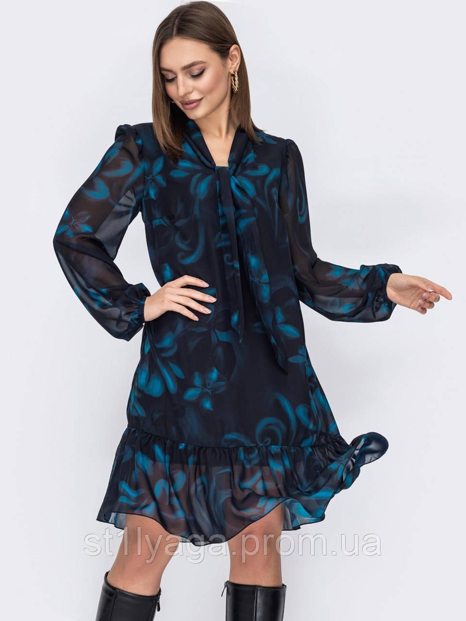 Платье из шифона в цветочный принт с воланом по низу