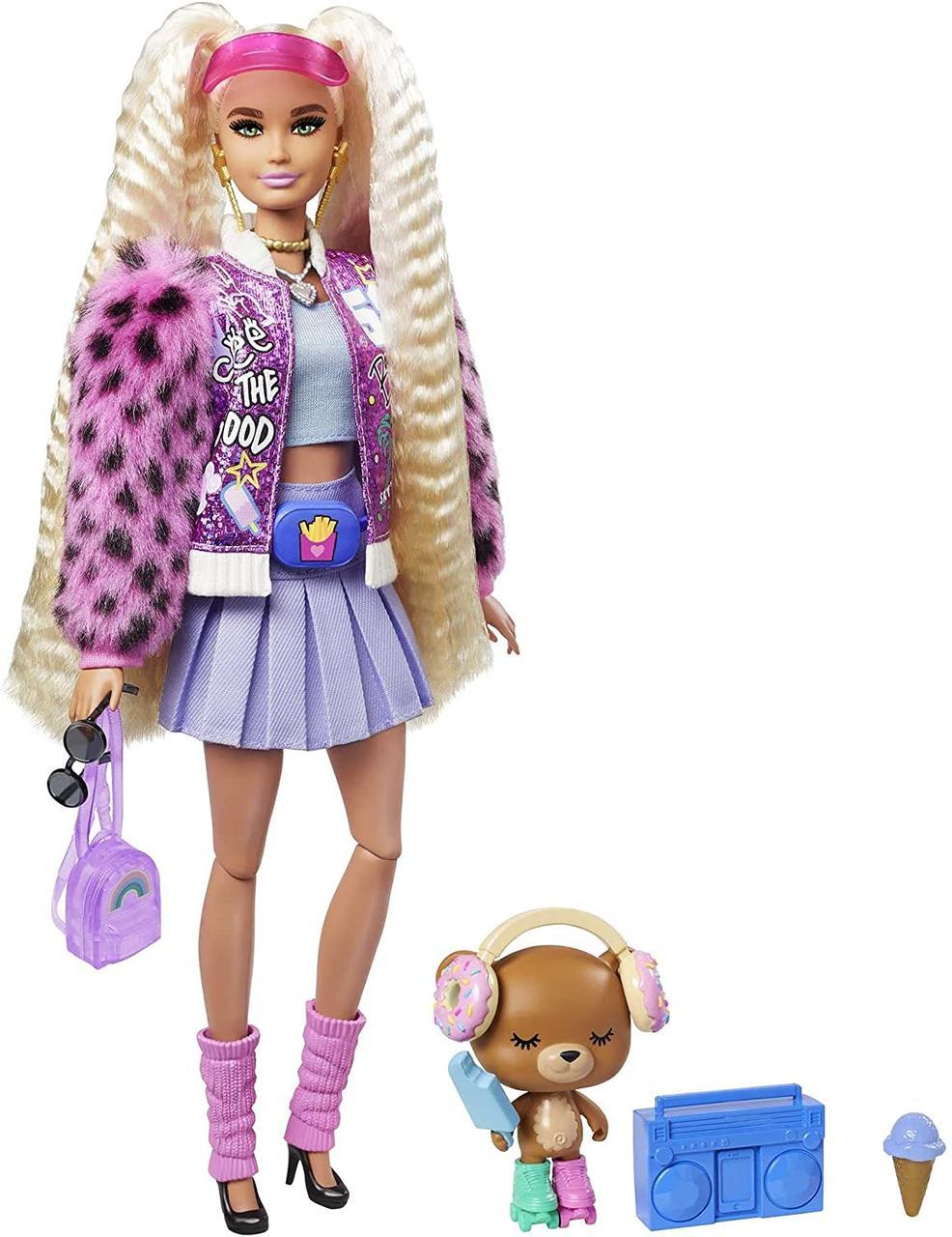 Кукла Барби Экстра Блондинка с косичками в куртке с пушистыми рукавами - Barbie Extra Doll #8 GYJ77