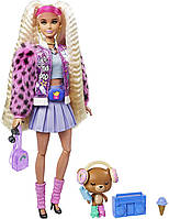 Кукла Барби Экстра Блондинка с косичками в куртке с пушистыми рукавами - Barbie Extra Doll #8 GYJ77, фото 1