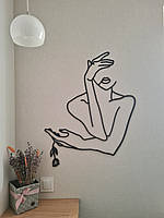 Декоративное панно из дерева, объемная картина, настенное панно Девушка с цветком