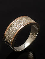 Кольцо серебряное 925 пробы с накладками золота 375 пробы, фото 1