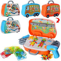 Мозаїка на шурупах, шуруповерт, інструменти, 139 дет, бат, у валізі, кор, 29-21-9,5 см